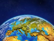 Europe on Earth with borders. Europe on planet planet Earth with country borders. Extremely detailed planet surface and clouds. 3D illustration. Elements of this stock illustration