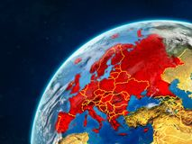Europe on Earth with borders. Europe on realistic model of planet Earth with country borders and very detailed planet surface and clouds. 3D illustration stock photography
