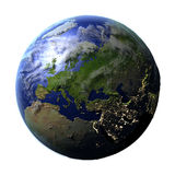Europe on Earth isolated on white Royalty Free Stock Photo