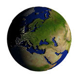 Europe on Earth isolated on white Royalty Free Stock Photography