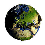 Europe on Earth isolated on white Royalty Free Stock Images