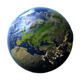 Europe on Earth isolated on white Royalty Free Stock Image
