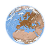 Europe on Earth. Europe on planet Earth isolated on white background. Elements of this image furnished by NASA Stock Image