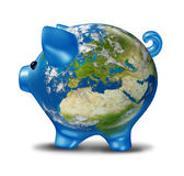 Europe Economic Crisis as World Map Piggy Bank. European banking and bad economy crisis as a a planet  earth with a piggy bank and world globe map of Europe Stock Photography