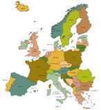 Europe EU map with country names called out Royalty Free Stock Photography