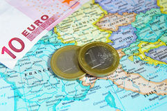Europe and Euro coins Royalty Free Stock Photos