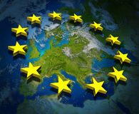 Europe and European Union. Europe and the European Union flag symbol with three dimensional gold stars floating on a map Royalty Free Stock Image