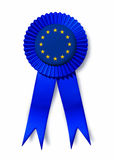 Europe European union flag ribbon prize award. Europe and  European union isolated flag ribbon representing a prize award for excellence Royalty Free Stock Images
