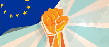 Europe fight and protest independence struggle rebellion show symbolic strength with hand fist illustration and flag. Vector Royalty Free Stock Photo
