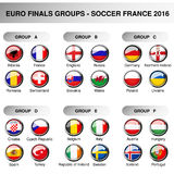 Europe final groups, set flags of participants in year 2016. Soccer cup. Championship - football in France - group A, B, C, D, E,. F, original design of glossy Stock Photography