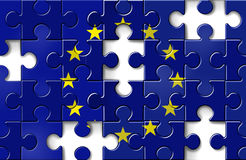 Europe Financial Crisis. Europe crisis with the European flag in a jigsaw puzzle with pieces missing as a financial crisis that needs banking assistance and loan Royalty Free Stock Image