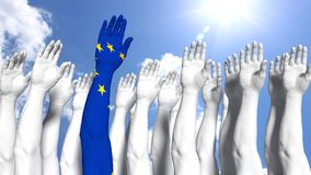 Europe first concept arm painted as european flag. Group of white arms in front of blue sunny sky and one arm with a european flag texture europe first concept Stock Photography