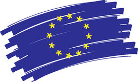 Europe flag. Hand painted flag of europe made of strokes Stock Image