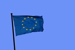 Europe flag. On blue sky Royalty Free Stock Image