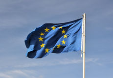 A Europe flag. Waves on a flagpole Royalty Free Stock Image
