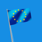 Europe flag on blue background. 3d illustration. Image of Europe flag on blue background. 3d illustration Stock Images