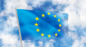 Europe flag on blue background. 3d illustration Royalty Free Stock Photos