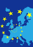Europe with flag of European Union. Map of Europe with flag of European Union Stock Images