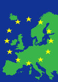 Europe with flag of European Union. Map of Europe with flag of European Union Stock Image