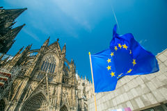 Europe flag in front of Cologne Stock Photography
