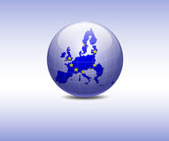 Europe Flag in the globe. Europe Flag in the  blue globe Royalty Free Stock Images