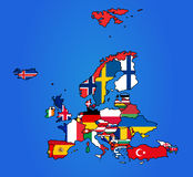 Europe Flag Map Stock Image