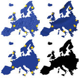 Europe flag over map collage Royalty Free Stock Photos