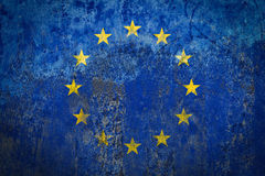 Europe Flag painted on a Wall. Ddistressed Painting of a Flag on an old Wall Stock Photography