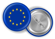 Europe flag round brooch pin. Front and back vector illustration