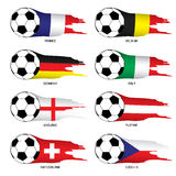 Europe flag set with soccer ball. Illustration  on white background Stock Photography