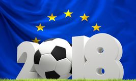 Europe flag 2018 soccer football ball green lawn. Design Royalty Free Stock Photo