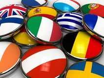 Europe flags. 3d flags of europe countries Royalty Free Stock Photo