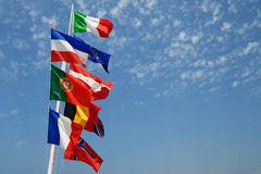Europe flags. With blue sky Stock Image