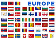 Europe flags. Of all European countries. Clipping path included Stock Photos