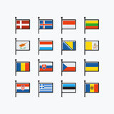 Europe flags, part 2. Stock Photo