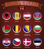 Europe Flags round shape with bevel volume 1. Europe country flags collection with round style in bevel Stock Photos