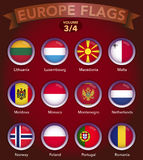 Europe Flags round shape with bevel volume 3. Europe country flags collection with round style in bevel Stock Image