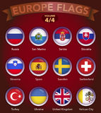 Europe Flags round shape with bevel volume 4. Europe country flags collection with round style in bevel Stock Photos
