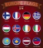 Europe Flags round shape with bevel volume 2. Europe country flags collection with round style in bevel Royalty Free Stock Image