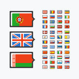 Europe flags, set of vector flat icons Stock Image