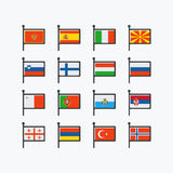 Europe flags, set of vector flat icons Royalty Free Stock Image