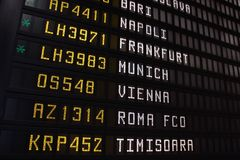 Europe flight schedule Royalty Free Stock Photography
