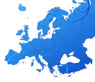 Europe floral map. Vector map - size and color can be changed Stock Photography