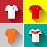 Europe Football Jersey Flat Icon Set Royalty Free Stock Photo