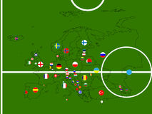 Europe Football Map Circles Stock Photos