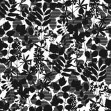 Europe forest sophisticated leave seamless pattern. Europe forest sophisticated leaves seamless pattern in black and white colors. One-color repeatable floral vector illustration