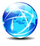 Europe Global Communication Planet World Data. Communication across the World with light lines Cable, email or Internet connection Royalty Free Stock Images