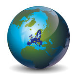 Europe on Globe icon vector illustration