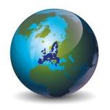 Europe on Globe icon. Europe Union,  on white background, vector illustration Stock Photography