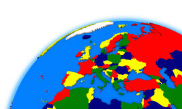 Europe on globe political map Royalty Free Stock Images
